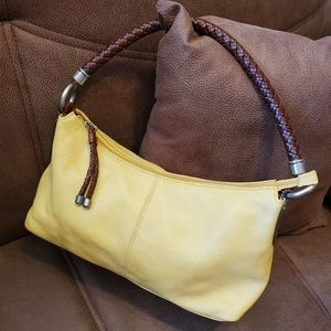 Fossil leather hobo yellow brown trim woven handle